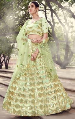 Light-green sequins embroidered net semi stitched bridal lehenga