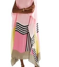 JSDC Women's Daily Wear Satin Silk Printed Calf Length Kaftans