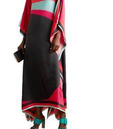 JSDC Free Size Calf Length Women Printed Satin Silk Fabric Kaftan Kurta