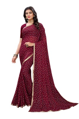 Maroon printed chiffon saree with blouse