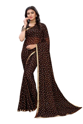 Brown printed chiffon saree with blouse