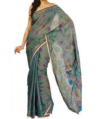 Supernet cotton fancy banarasi saree