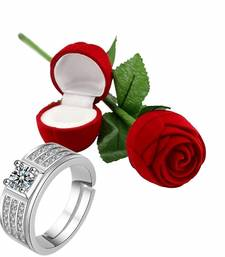 Silver Plated CZ American Diamond Adjustable Finger Ring with Red Rose Gift Box For Men (S001-FL164CO)