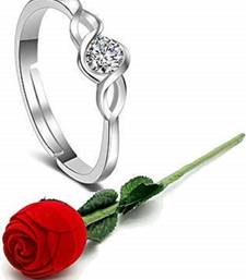 Gift Hamper of CZ Silver Plated Adjustable Finger Ring with Red Rose Gift Box For Love (S001-FL156CO)