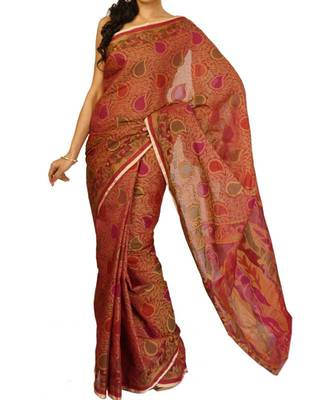 Supernet cotton fancy banarasi saree