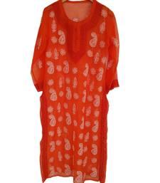Orange hand woven georgette chikankari-kurtis