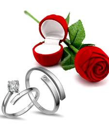Platinum Plated CZ Adjustable Couple Finger Rings With Red Rose Gift Box for For Love (S001-FL157CO)