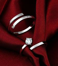 Silver Plated His and Her Adjustable Promise Wedding Finger Ring Set Anniversary Engagement Couple Rings