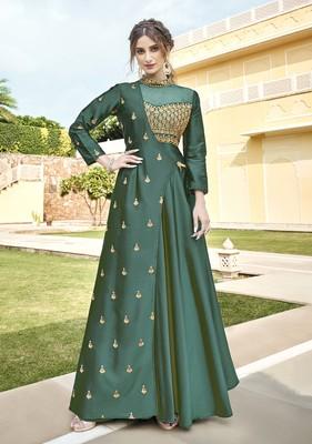 Green embroidered silk heavy-work-kurtis