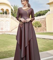 Brown embroidered silk heavy-work-kurtis