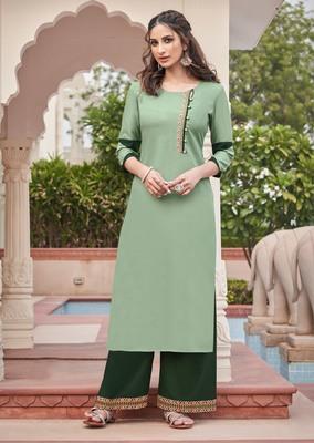 Light-green embroidered rayon salwar