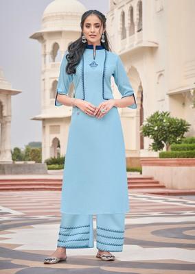 Sky-blue embroidered rayon salwar