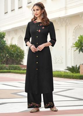 Black embroidered rayon salwar