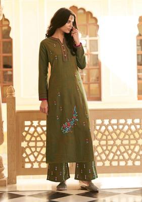 Mehendi embroidered silk salwar