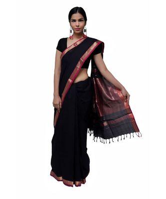 Black Maheshwari  Cotton Saree with Zari Border Stripes  Traditional saree