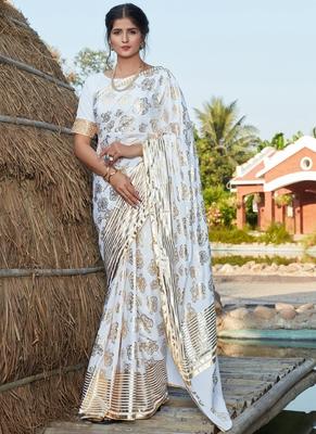 White Silk Foil Printed Traditional Saree