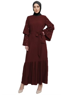 JSDC Maroon Color Women Islamic Korean Nida Abaya Burkha With Pearl