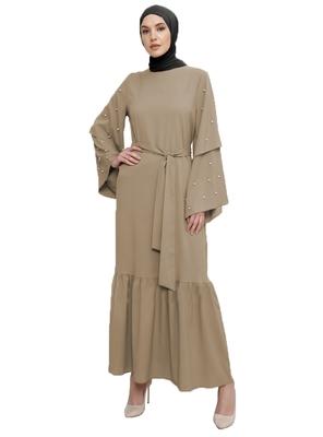 JSDC Stone Color Imported Korean Nida Abaya Burqa With Hijab For Women