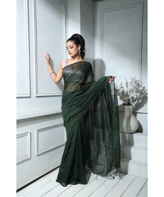 Deep Green Sequined saree With Blouse