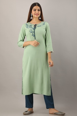 Light-green embroidered viscose embroidered-kurtis