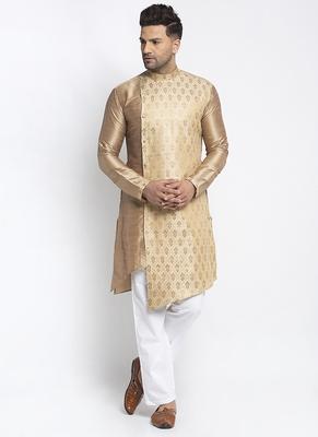 Embellished Brocade Golden Raw Silk Kurta-Pajama For Men By Treemoda