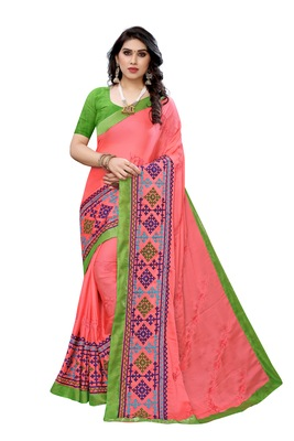 Beautiful Multicolor Embroidery Ari Work With Real Mirror Saree with Blouse