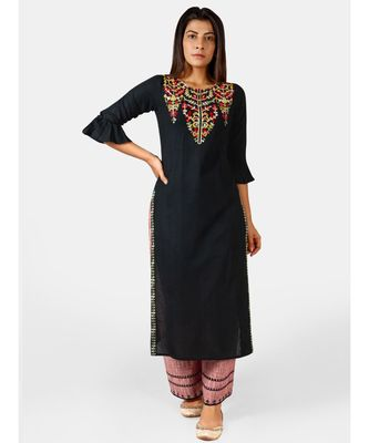 Black princess line embroidered neck kurta with red slub palazzo pant