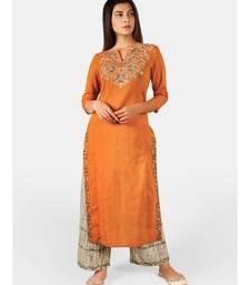Orange long embroidered neck kurta with rust canvas palazzo pant