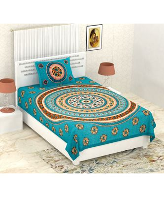 Sanganeri Printed Traditional Single Cotton Bedsheet With 1 Pillow cover