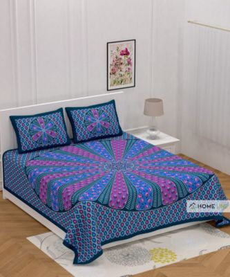 Sanganeri Printed Traditional Double Cotton Bedsheet With 2 Pillow cover
