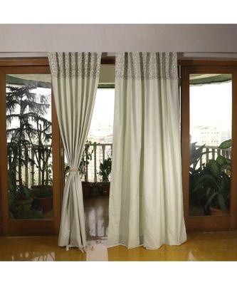 Off White Mehandi Green 100% Cotton curtain