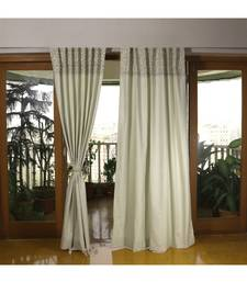Off White Mehandi Green 100% Cotton curtain