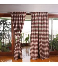 Maroon Grey Polyester Blend curtain