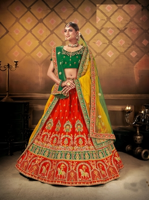 Red embroidered satin semi stitched lehenga