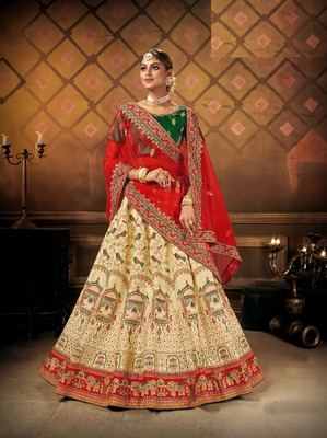 Cream embroidered satin semi stitched lehenga