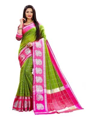 Multicolor woven chanderi silk saree with blouse