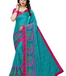 : Beautiful Multicolor Embroidery Ari Work With Real Mirror Saree with Blouse