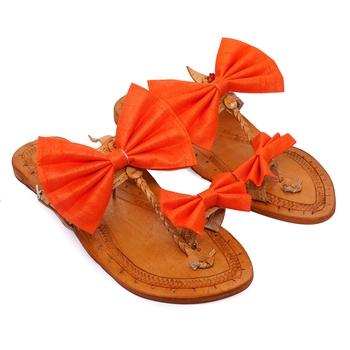 Orange Bow Embellished Kolhapuri Chappal I Pure Leather Flat Slipper For Women I