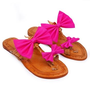 Pink Bow Embellished Kolhapuri Chappal I Pure Leather Flat Slipper For Women I