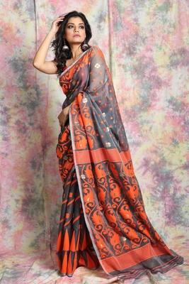 Grey woven jamdani saree with all over butta