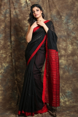 Black woven cotton saree with Red border and pallu