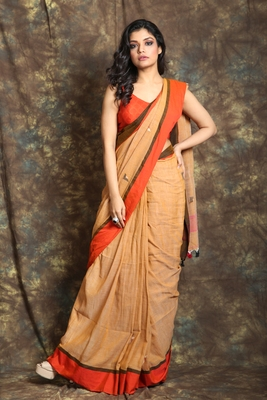 Copper woven cotton saree with blouse