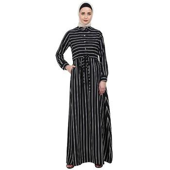 Striped abaya with collar- Black-White