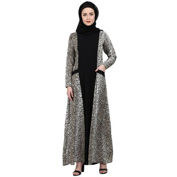 Dual colored casual abaya with Animal print