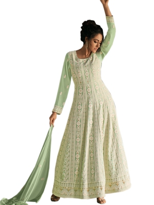 Sea-green embroidered faux georgette salwar