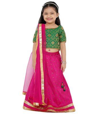 Muhenera Girl'S Art Silk Pink Lehenga Choli