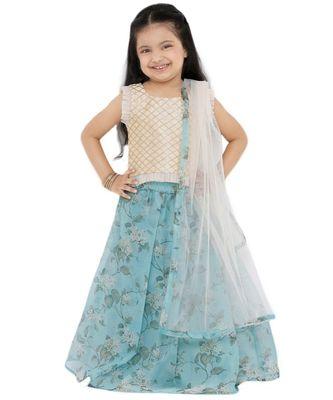 Muhenera Girl'S Net Blue Lehenga Choli
