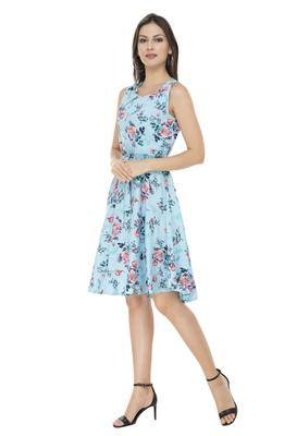blue crepe printed dress