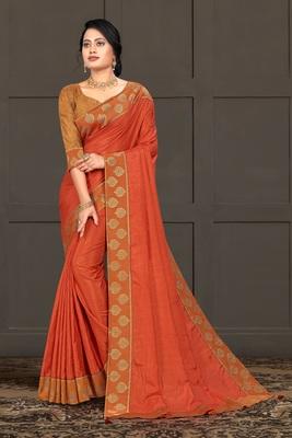 Indian Women Orange Vichitra silk Lace Work Designer Saree