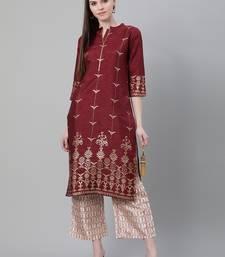 Maroon printed art silk kurtas-and-kurtis